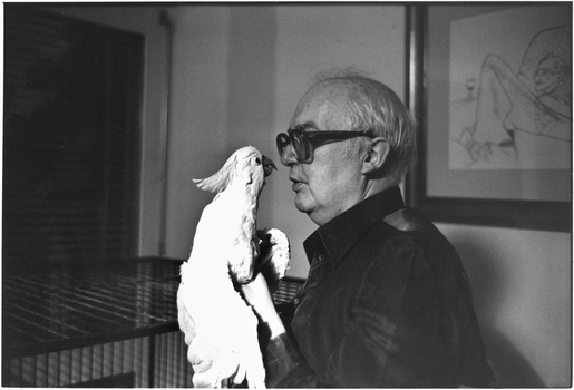 Avec son perroquet Lulu en 1979