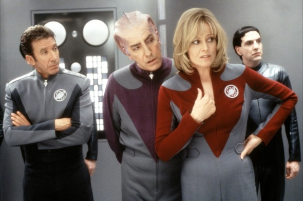 Tim Allen, Alan Rickman et Sigourney Weaver en costumes de scène