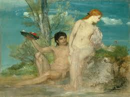 Deux amoureux devant un buisson