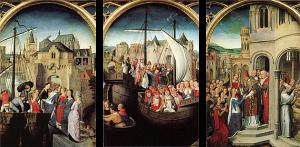 """Un exemple de scènes chronologiques dans un même tableau : """"Scènes de la vie de Sainte-Ursule"""", Hans Memling, 1489"""