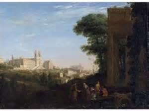 Claude Gellée, dit Le Lorrain : Vue de Rome avec une scène de prostitution