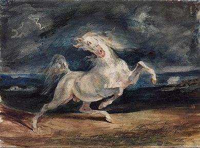 Delacroix cheval effrayé par l'orage